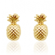 Trendy earrings studs pineapple Gold