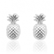 Trendy earrings studs pineapple Silver