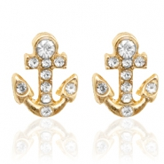 Trendy earrings studs anchor Gold