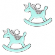Metal charms rocking horse Silver-Light Blue