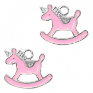 Metal charms rocking horse Silver-Pink
