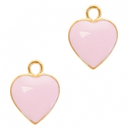 Metal charms heart Deep Gold-Light Lavender Pink