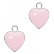 Metal charms heart Silver-Light Lavender Pink