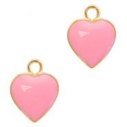 Metal charms heart Deep Gold-Pink