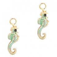 Metal charms seahorse Deep Gold-Turquoise Green