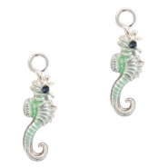 Metal charms seahorse Silver-Turquoise Green