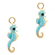 Metal charms seahorse Deep Gold-Light Blue