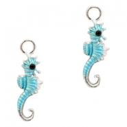 Metal charms seahorse Silver-Light Blue