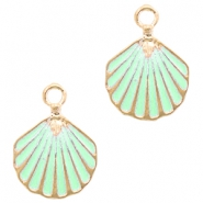 Metal charms shell Deep Gold-Turquoise Green