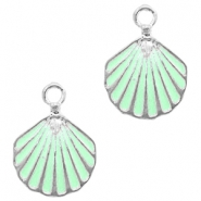 Metal charms shell Silver-Turquoise Green