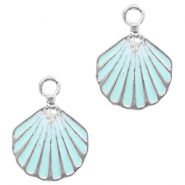 Metal charms shell Silver-Light Blue