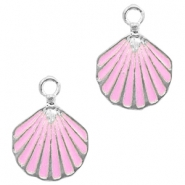 Metal charms shell Silver-Pink