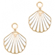 Metal charms shell Deep Gold-White