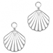 Metal charms shell Silver-White
