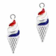 Metal charms ice horn Silver-Red Blue