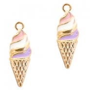 Metal charms ice horn Deep Gold-Purple pink