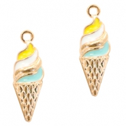 Metal charms ice horn Deep Gold-Turquoise Yellow