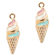 Metal charms ice horn Deep Gold-Turquoise Pink