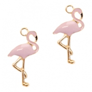 Metal charms flamingo Deep Gold-Lavender Pink