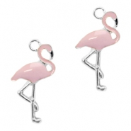 Metal charms flamingo Silver-Lavender Pink