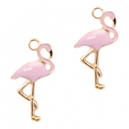 Metal charms flamingo Deep Gold-Light Lavender Pink