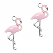 Metal charms flamingo Silver-Light Lavender Pink