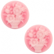 Basic cabochon cameo 20mm bouquet Pink-White