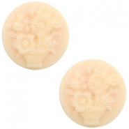 Basic cabochon cameo 20mm bouquet Light Peach-Beige
