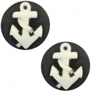 Basic cabochon cameo 20mm anchor Black-White