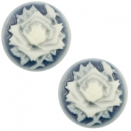 Basic cabochon cameo 12mm rose Dark Blue-Off White