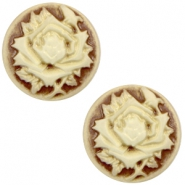 Basic cabochon cameo 12mm rose Brown-Antique Gold