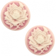 Basic cabochon cameo 12mm rose Vintage Pink-Off White
