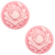 Basic cabochon cameo 12mm rose Pink-White