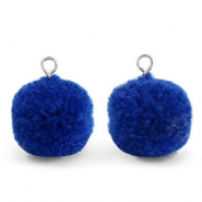 Pompom charms with loop 15mm Egyptian Blue-Silver