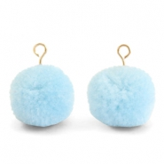 Pompom charms with loop 15mm Light Blue-Gold