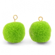 Pompom charms with loop 15mm Dark Lime Green-Gold