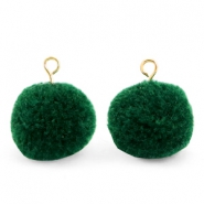 Pompom charms with loop 15mm Dark Green-Gold