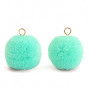 Pompom charms with loop 15mm Turquoise Green-Gold