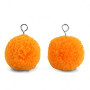 Pompom charms with loop 15mm Pumpkin Orange-Silver