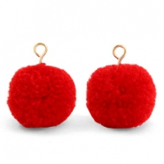 Pompom charms with loop 15mm Scarlet Red-Gold
