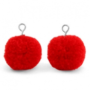Pompom charms with loop 15mm Scarlet Red-Silver