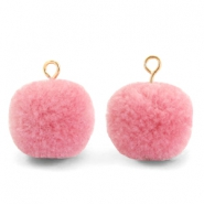 Pompom charms with loop 15mm Rouge Pink-Gold