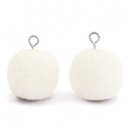 Pompom charms with loop 15mm Floral White-Silver