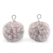 Pompom charms with loop 15mm Mix Pink Grey-Silver