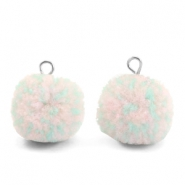 Pompom charms with loop 15mm Mix Turquoise Light Pink-Silver
