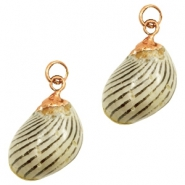 Shell bead specials Moon Shell Multicolour Brown Greige-Rose Gold