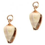 Shell bead specials Cone Shell Off White-Rose Gold