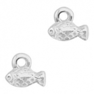 DQ European metal charms fish Antique Silver (nickel free)