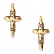 DQ European metal charms connector cross Antique Bronze (nickel free)