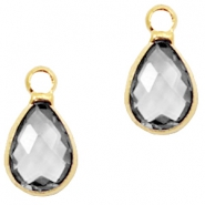 Crystal glass charms drop 12x6mm Black Diamond crystal-Gold